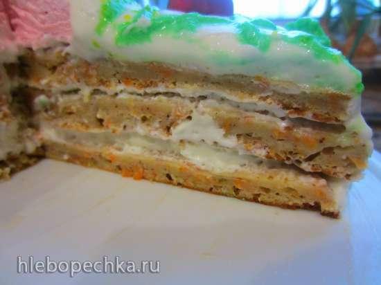 Морковный торт из жмыха от соковыжималки с зефирно-сливочным кремом