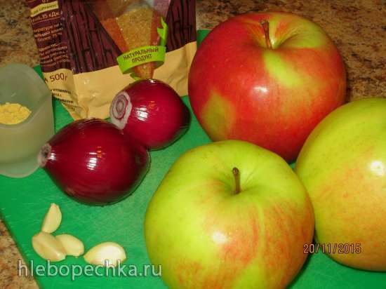 Свиной стейк с яблочно-имбирным гарниром