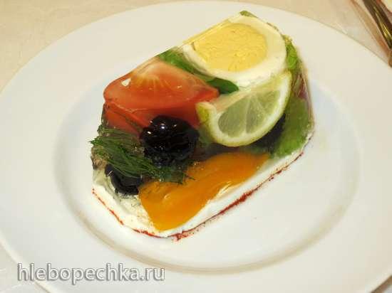 Заливное из овощей на сырно-чесночной  подушке