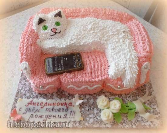 Торт Котенок на диване  Мастер-класс