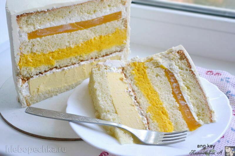 Бисквитный торт с чизкейком внутри «Манго-манго» (+видео)