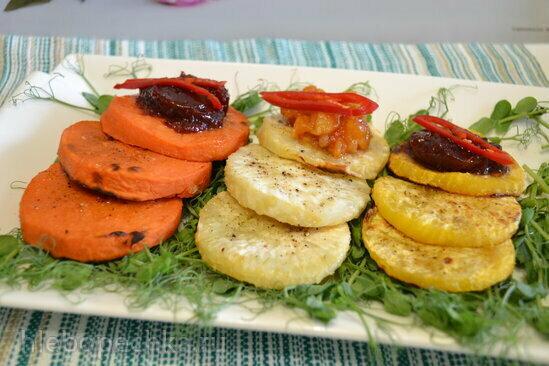 Овощи (батат, репа, сельдерей) запеченные на гриле