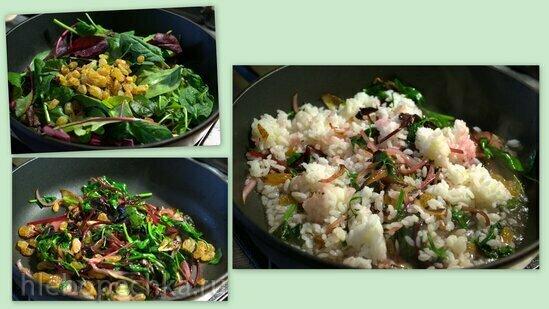 Отварной рис (гречка) с салатной зеленью, ботвой