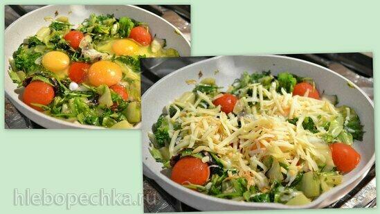 Яйца, сулугуни, салатная зелень, микрозелень