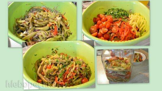 Салат из запеченных баклажанов с овощами и зеленью