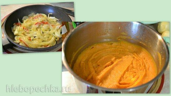 Овощное пюре (батат, репа, сельдерей) с кокосовым молоком, жареным луком