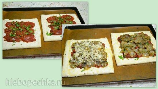 Пирог открытый с репчатым луком и вялеными томатами