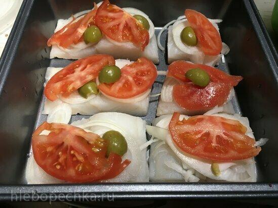 Треска с помидорами под луково-сырной шубкой в гриле Ninja