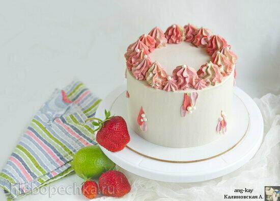 Белый торт «Клубника-лайм» (+видео)