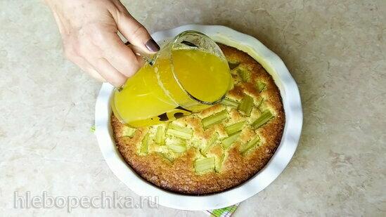 Апельсиновый пирог с ревенем и семолиной (+видео)