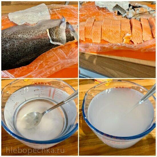 Шашлыки из красной рыбы, маринованные по Лазерсону