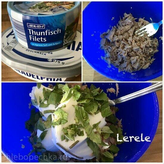 Дип намазка из рыбы (тунец), сыра и мяты