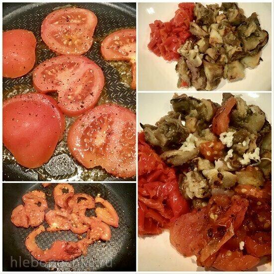 Баклажаны с перцем и жареными помидорами