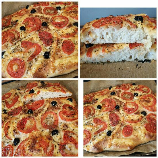 Фокачча с помидорами, оливками, сыром, тесто как на Чиабатту (+видео)